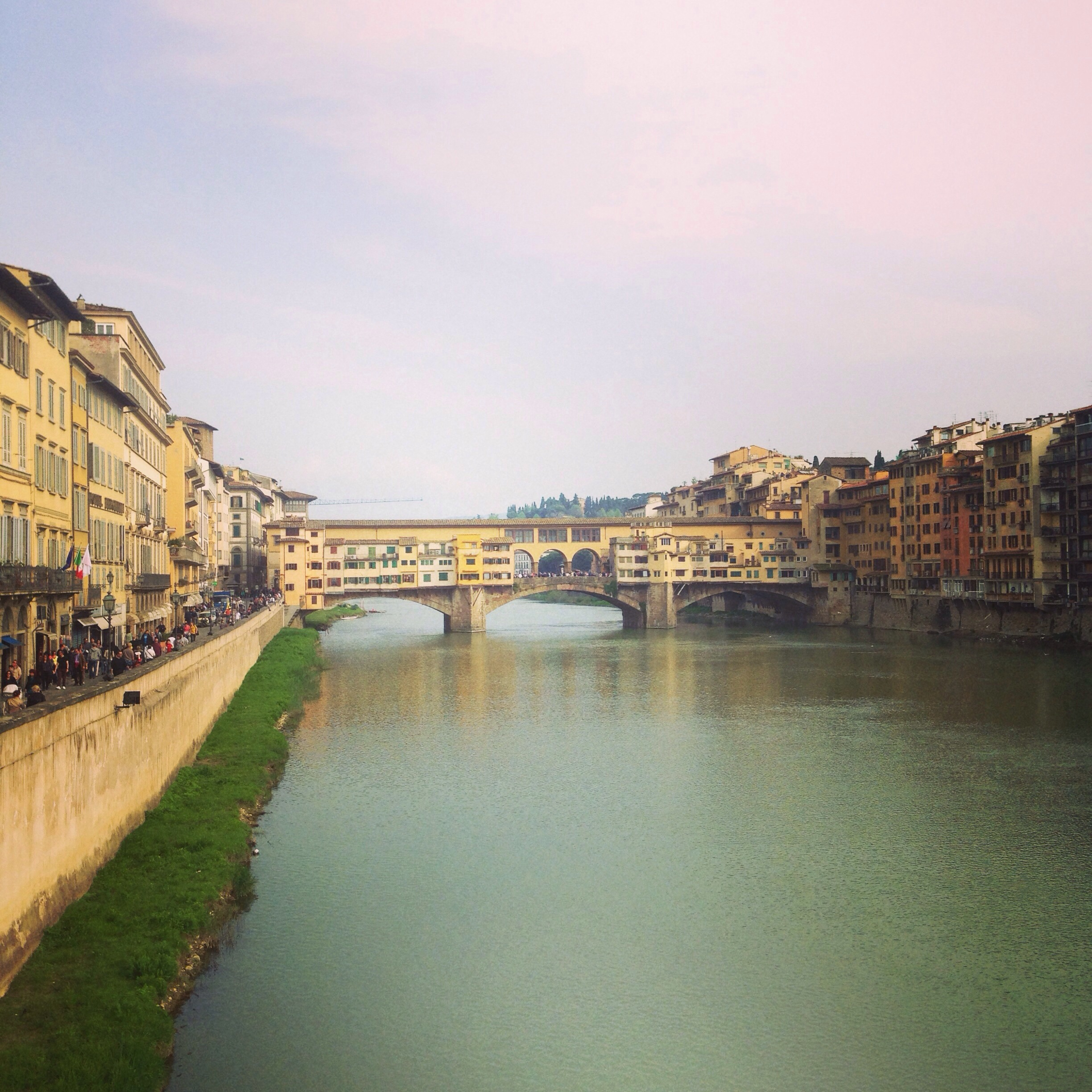 Staring down the Arno river to the famous Ponte Vecchio