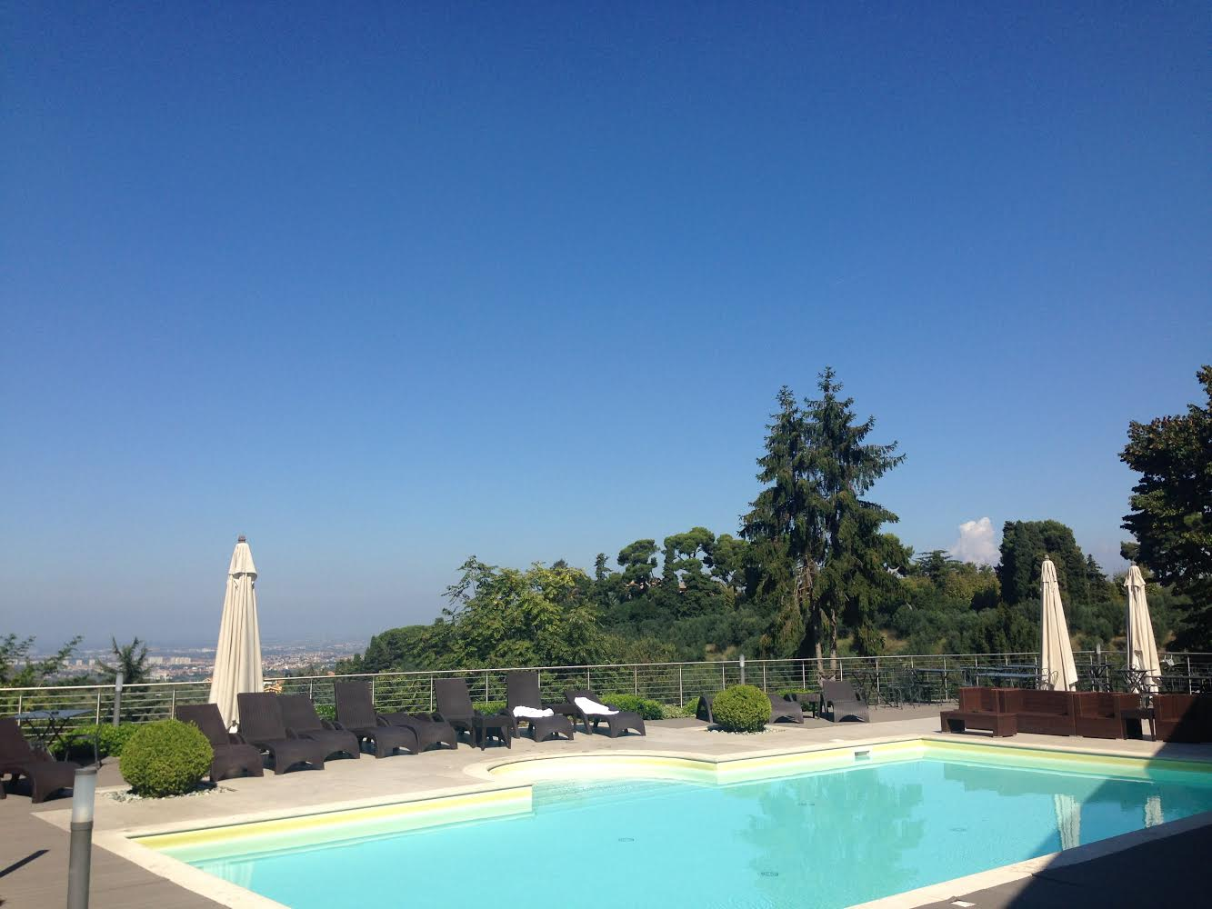 A pool with a non-so-bad view! This is Villa Mercede located in the heart of Frascati.