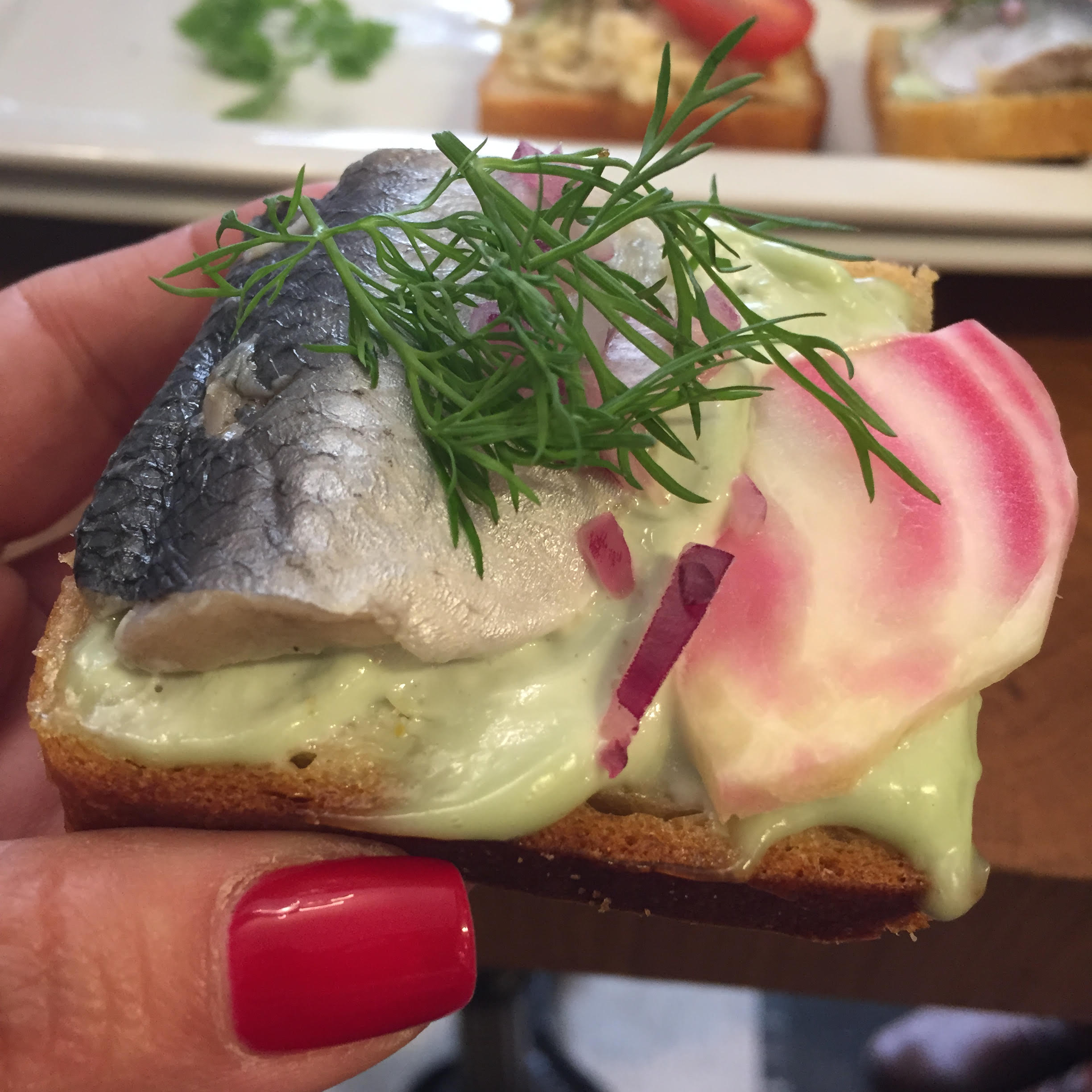 Herring and wasabi mayonnaise open faced sandwich