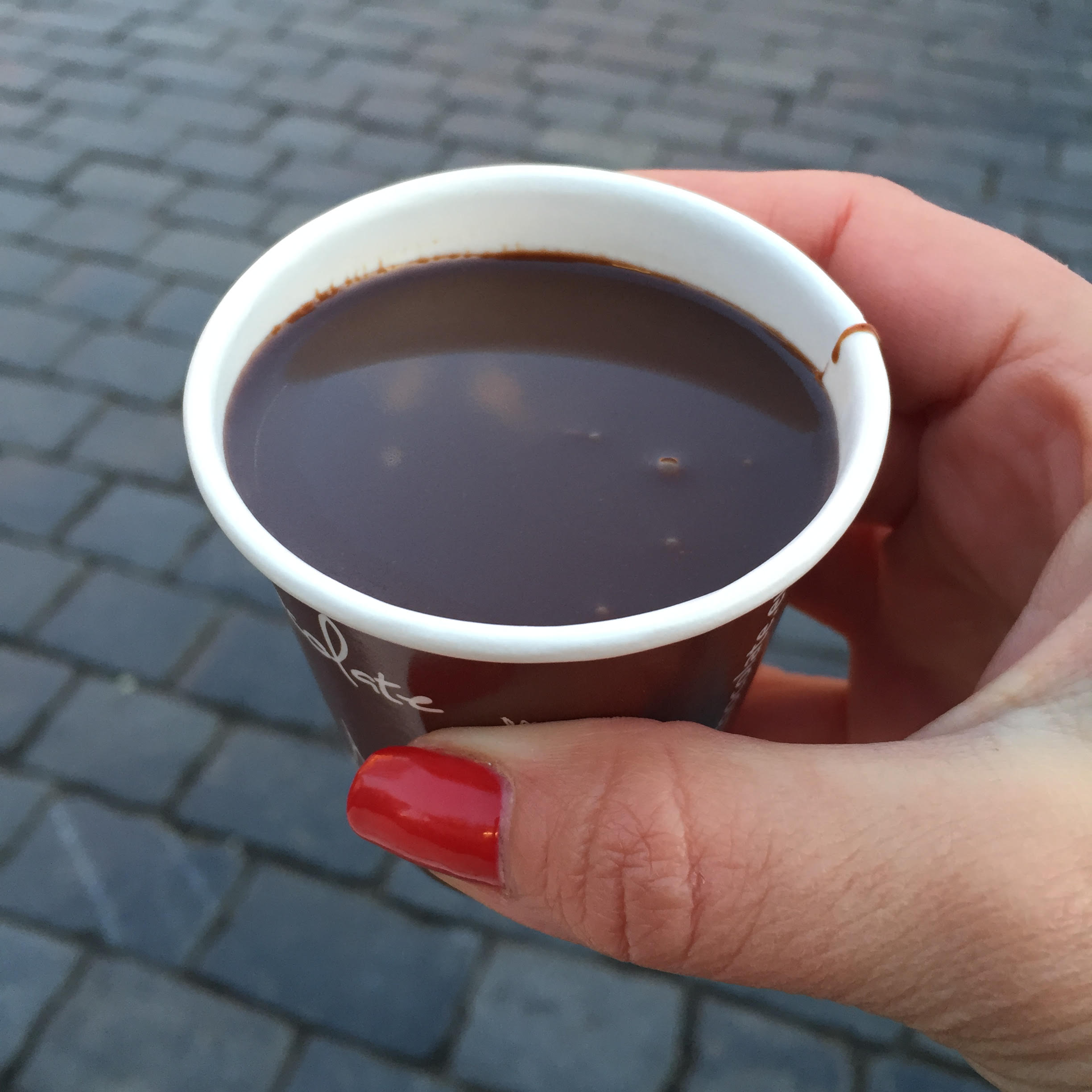 It was so chilly I had to have a shot of hot chocolate to warm up!