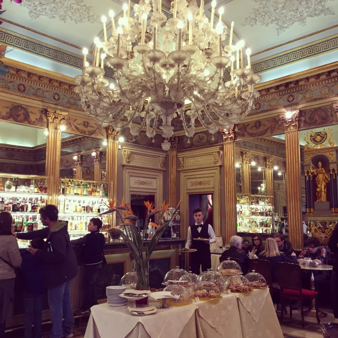 Torino boasts an elegant, opulent cafe culture. This is the famous Cafe San Carl