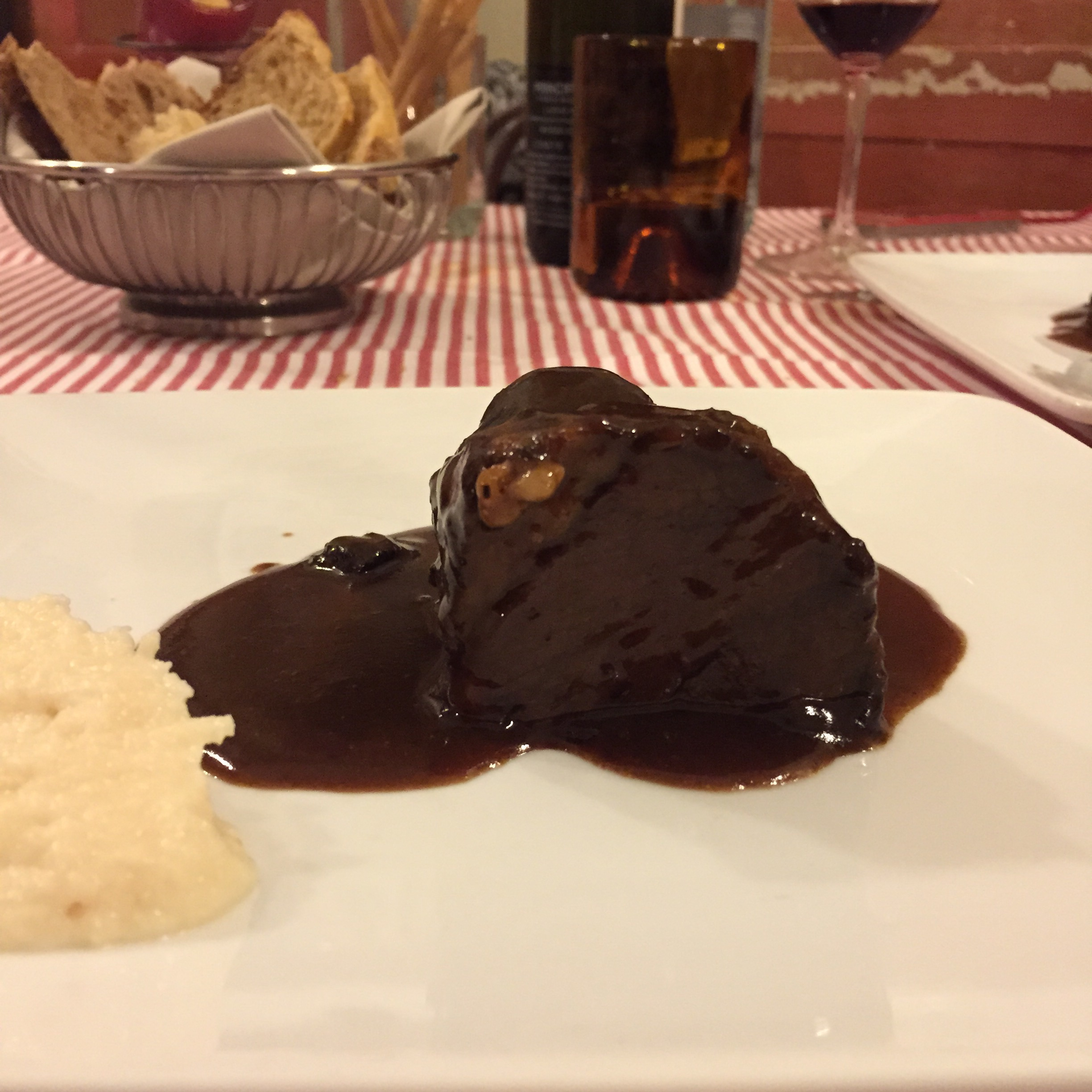 Fassone beef slow cooked in Ruche red wine served with turnip and celery puree (Il Consorzio, Torino)