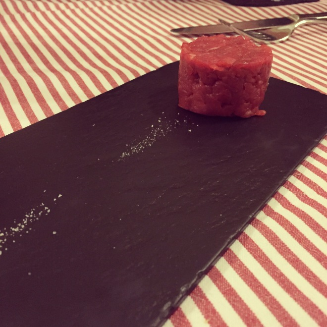 Beef tartare made with Fassona beef (cattle that is found only in Piemonte). This is at the award winning Il Consorzio in Torino