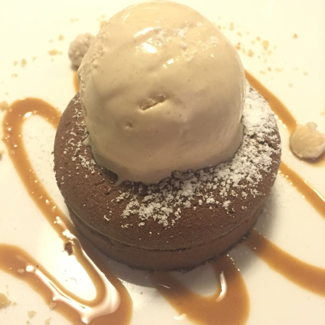Desserts of the highest quality - this praline fondant served with homemade local hazelnut gelato at La Libera in Alba