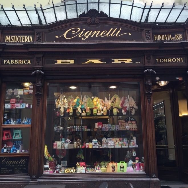 Walking the streets of Alba you'll stumble upon old food shops like this bar and pasticceria - open since 1878