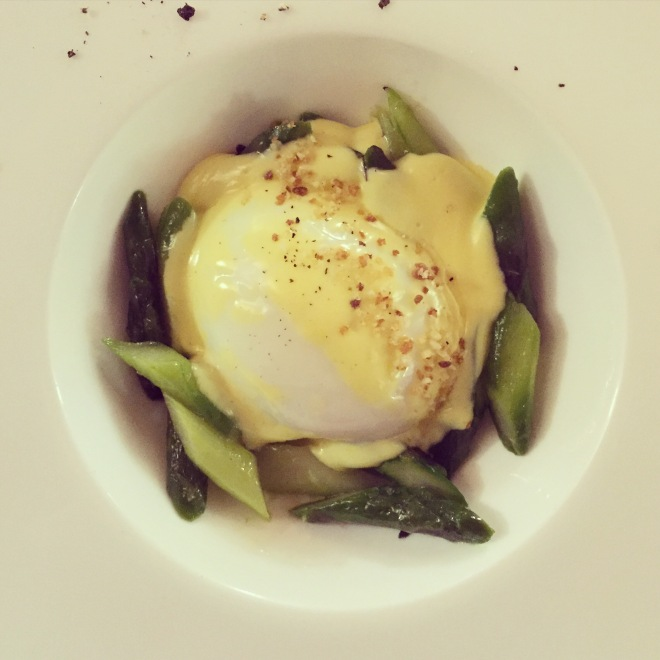 Eggs are a popular component of Piemontese cuisine. This one is poached and served with asparagus and fondue (Osteria Veglio, La Morra)