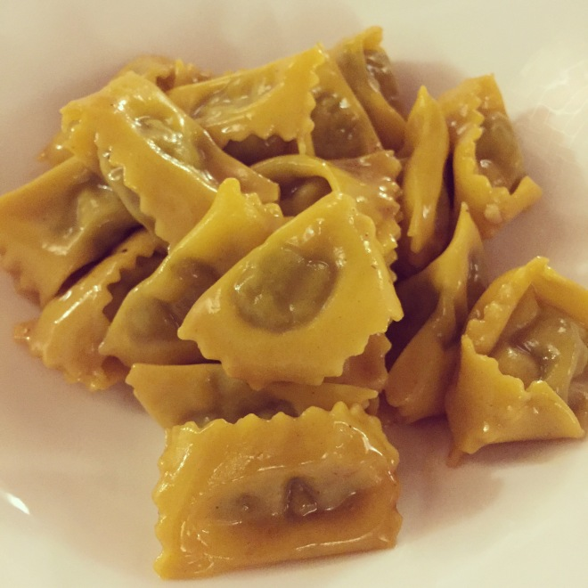 Plin (agnolotti pinched together by hand to close) are the typical pasta of the Langhe towns of Piemonte. These ones at Osteria Veglio are filled with meat ragu.