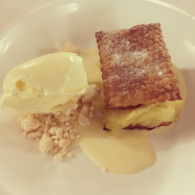 Desserts like works of art - this is an open apple pie with spiced custard, served with vanilla and olive oil gelato (Osteria Veglio in La Morra)
