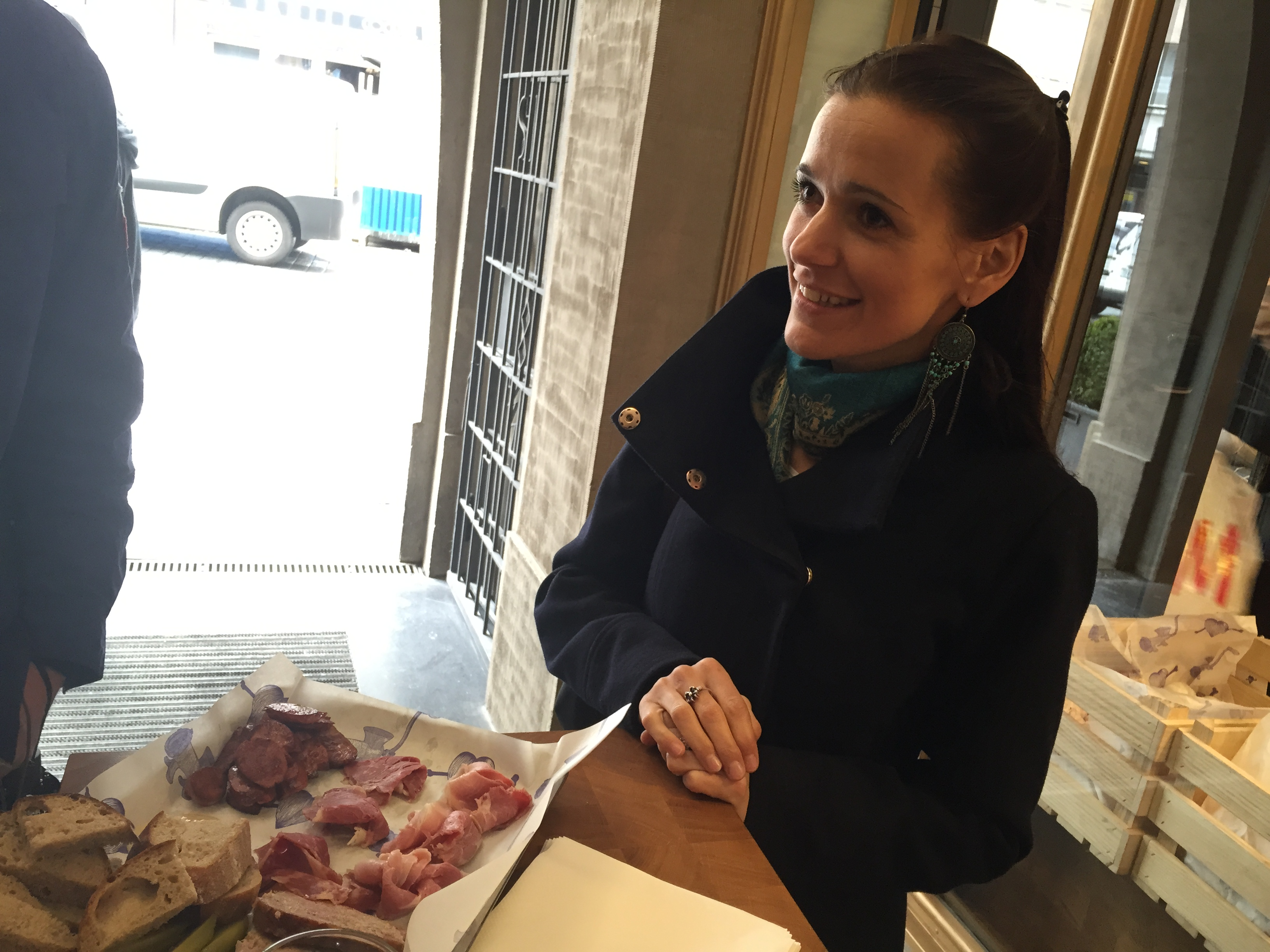Mase Naso: Mirka serving up a meat platter: the most delicious meatloaf I've ever had, pan fried sausage, the famous Prague ham, beef silverside, mustards and bread
