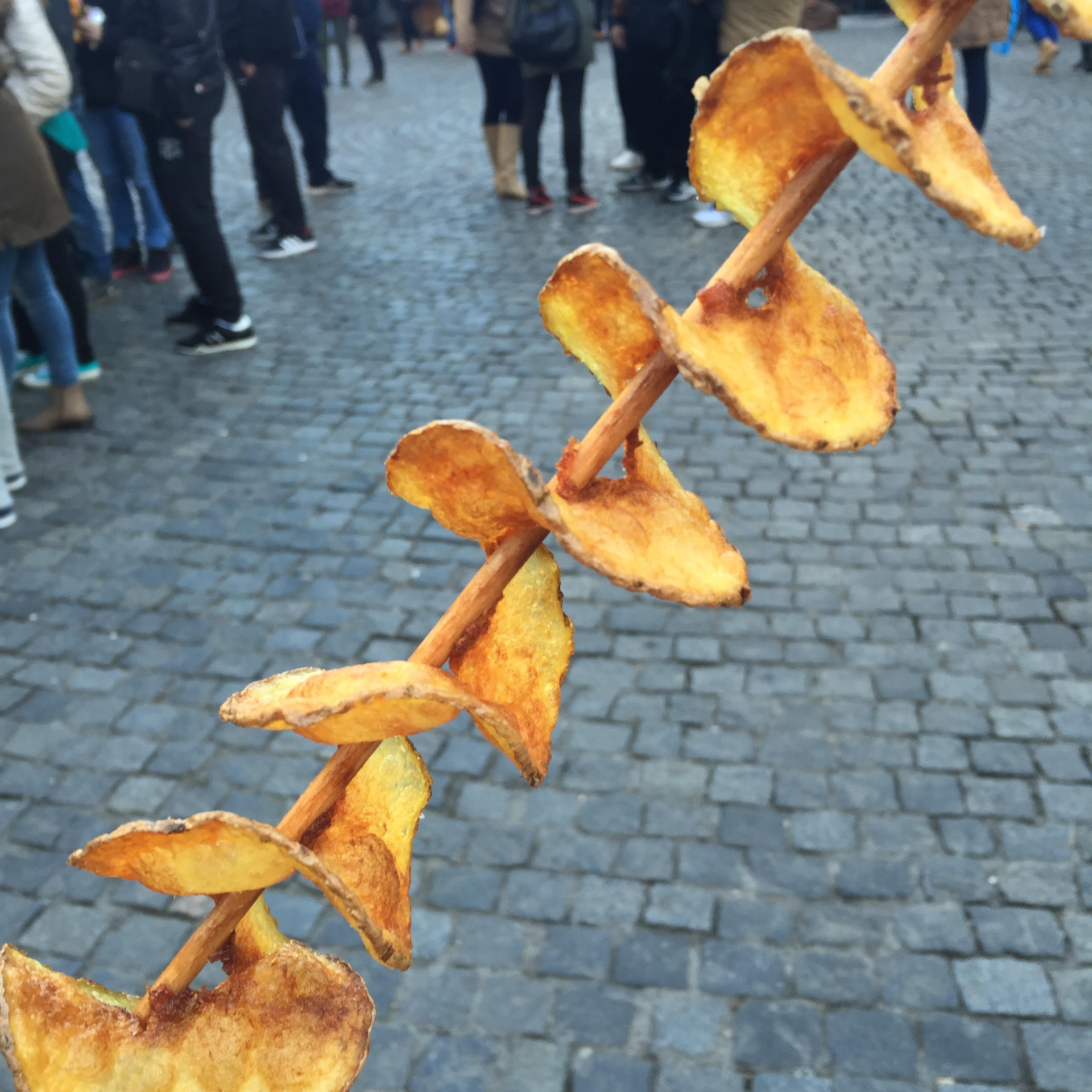 Potato chips on a stick, sold at the Easter markets